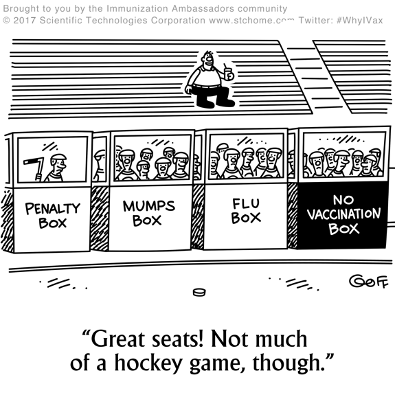 cartoon, funny drawing, hockey game, humor, immunizattion humor, health humor, flu shot, pro vaccine, anti vaccine, mumps, penalty box,