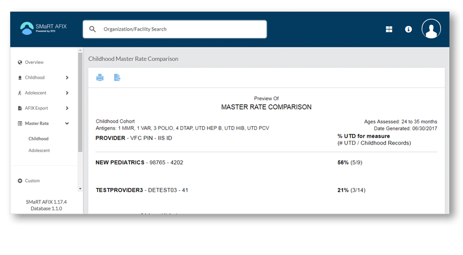 Screenshot of SMaRT AFIX application page showing an example Master Rate Comparison report.