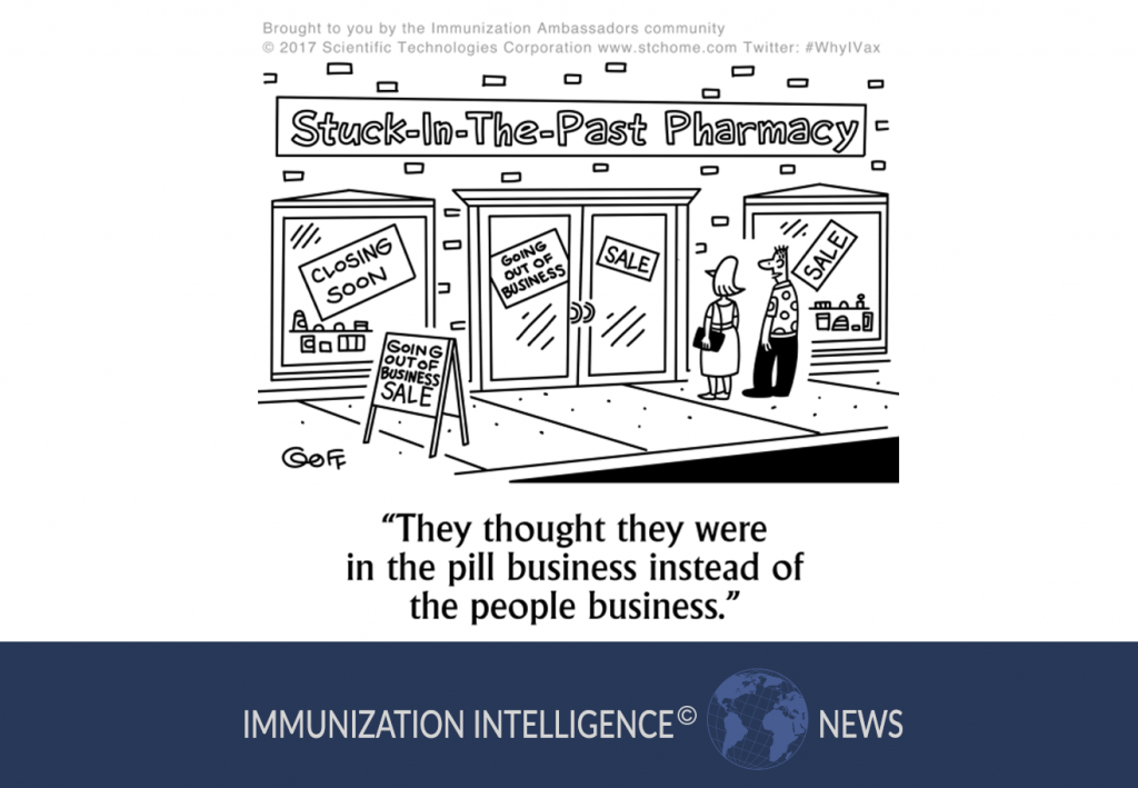 """A couple stands in front of a closing pharmacy called """"Stuck-in-the-Past Pharmacy,"""" which is having a Going Out of Business Sale. The husband says, """"They thought they were in the pill business instead of the people business."""""""