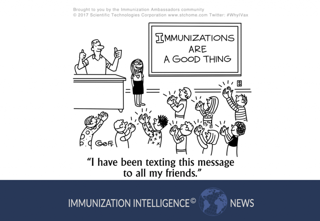 """Cartoon of a teacher and several children in a classroom. On the board it says """"Immunizations are a Good Thing."""" A little girl stands at the front of the class and says, """"I have been textin this message to all my friends."""" The teacher has both thumbs up and the other children are all clapping for her."""
