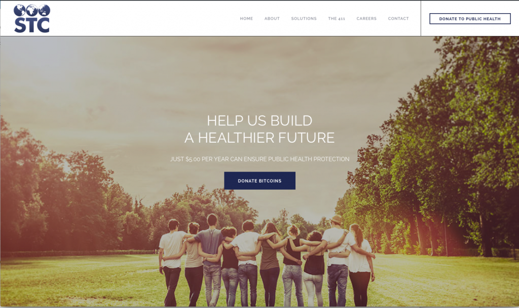 """Image of people walking away with their arms wrapped around each other. There is a """"Donate Bitcoins"""" button in the middle. The text above it says, """"Help us build a healthier future. Donate Bitcoins to support immunization advocacy."""""""