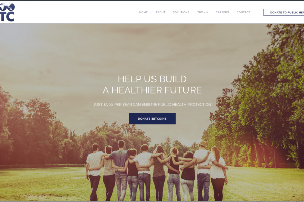 "Image of people walking away with their arms wrapped around each other. There is a ""Donate Bitcoins"" button in the middle. The text above it says, ""Help us build a healthier future. Donate Bitcoins to support immunization advocacy."""